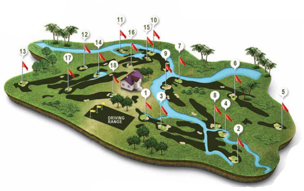 Mapa recorrido Campo de Golf Isla Canela