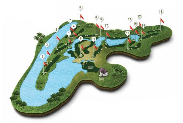 Mapa recorrido campo de Golf Valle del Guadiana