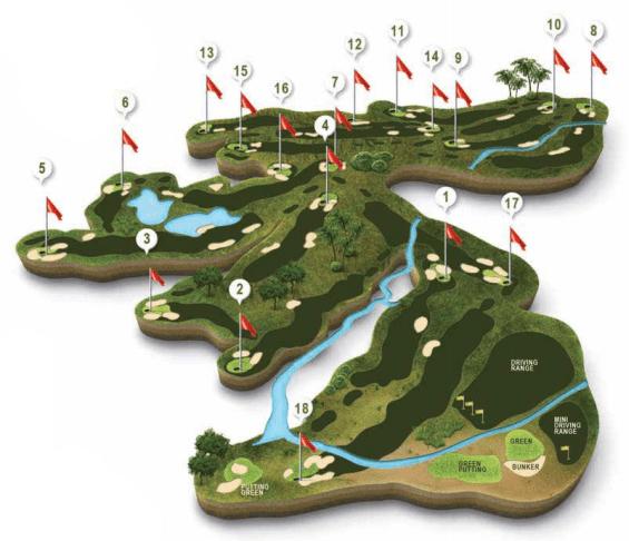"""Mapa recorrido campo de Golf El Rompido """"Norte"""""""